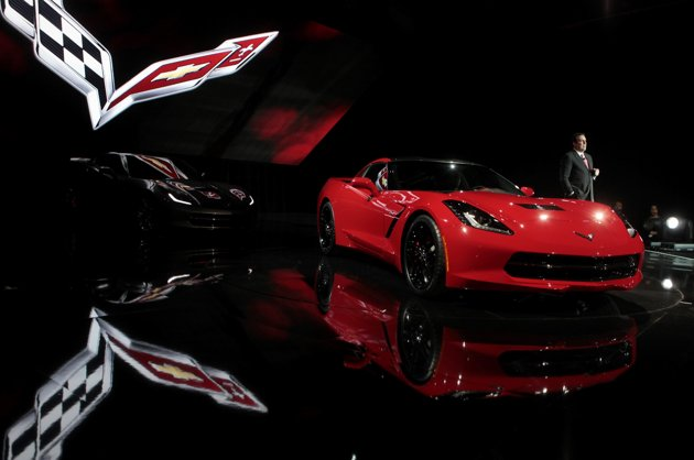 General Motors unveils the 2014 Corvette Stingray in Detroit (Reuters photo).